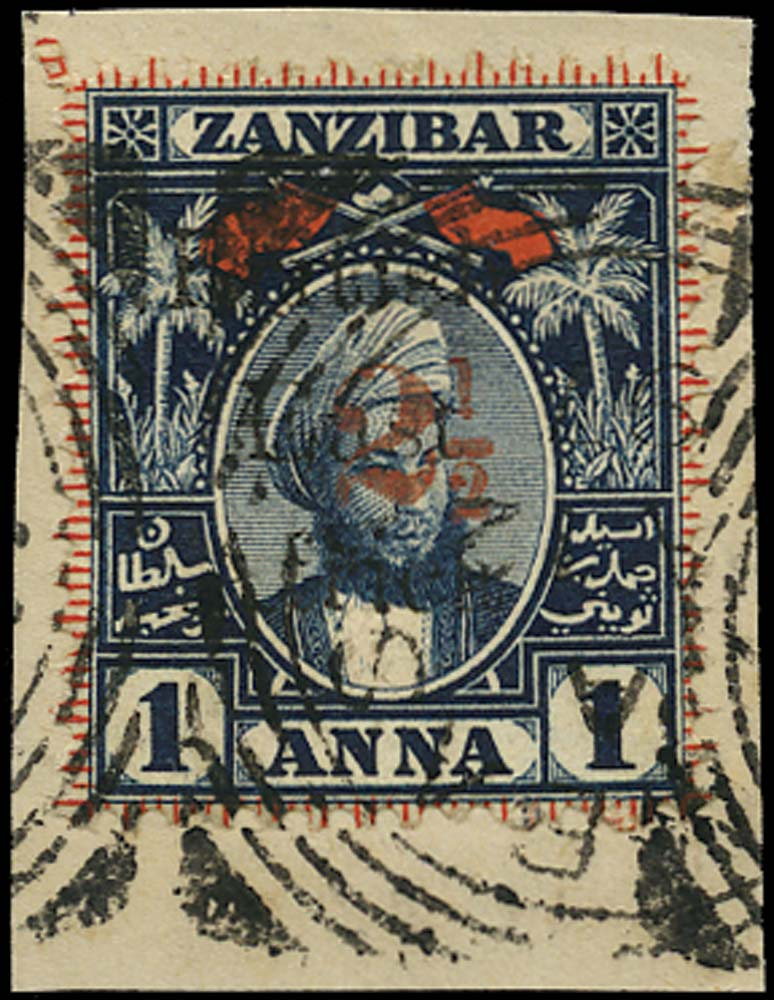 BRITISH EAST AFRICA 1897  SG88 Used 2½ on 1a indigo and red type 14 surcharge