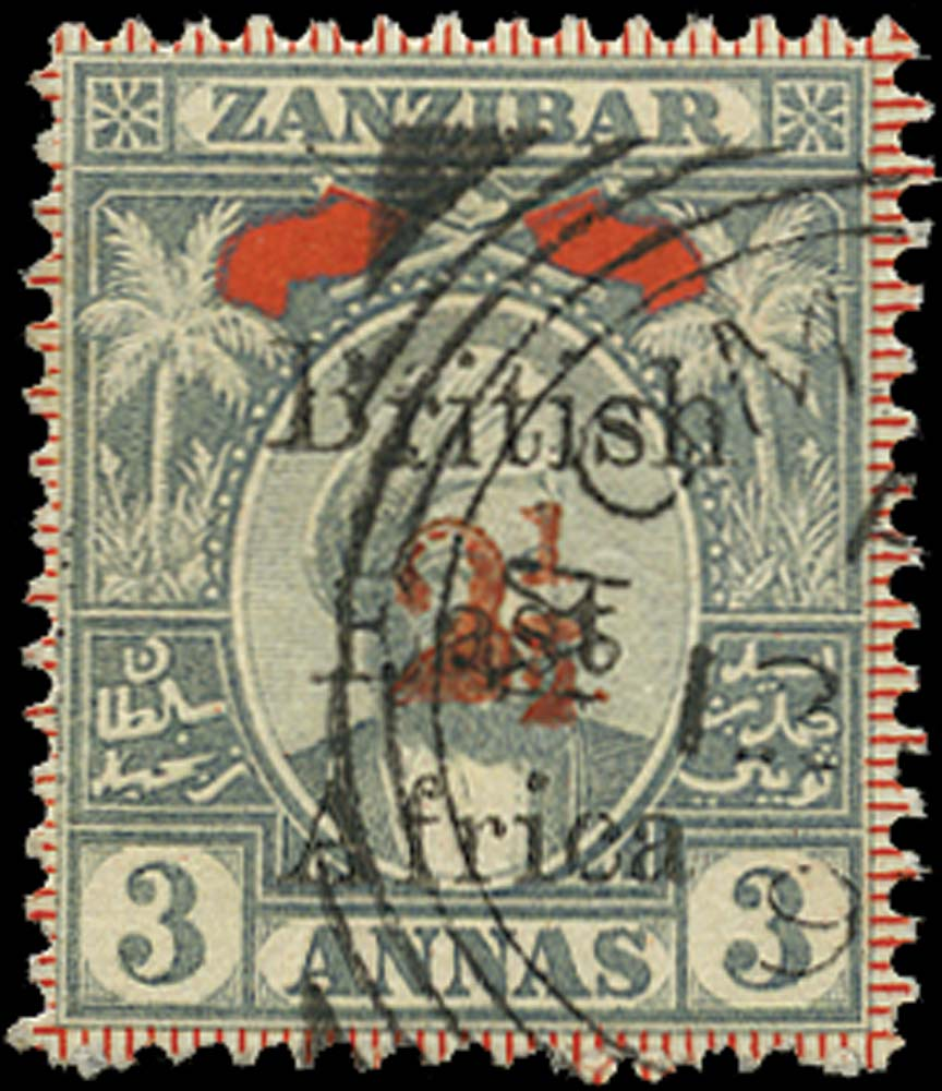 BRITISH EAST AFRICA 1897  SG89 Used 2½ on 3a grey and red type 12 surcharge