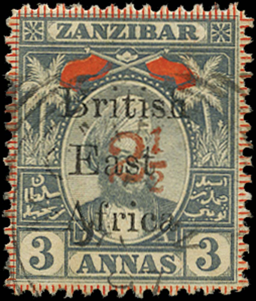 BRITISH EAST AFRICA 1897  SG90 Used 2½ on 3a grey and red type 13 surcharge