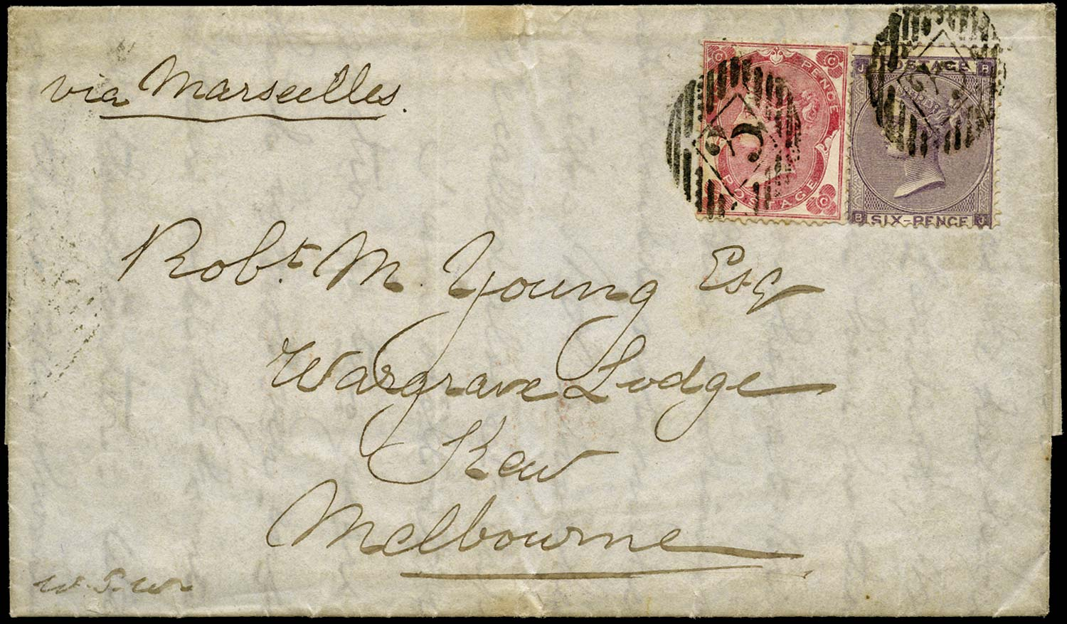 GB 1863  SG76, 84 Cover London to Melbourne