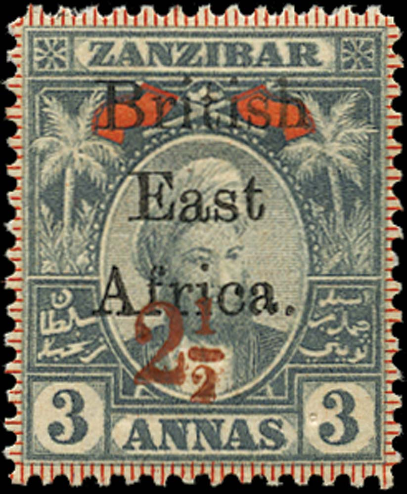 BRITISH EAST AFRICA 1897  SG89(s) var Specimen 2½ on 3a opt double one albino