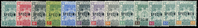 MALAYA - KELANTAN 1911-15  SG1s/12s Specimen