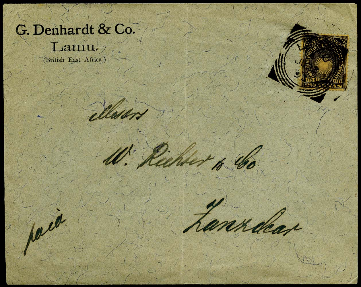 BRITISH EAST AFRICA 1893  SG7b Cover from Lamu to Zanzibar