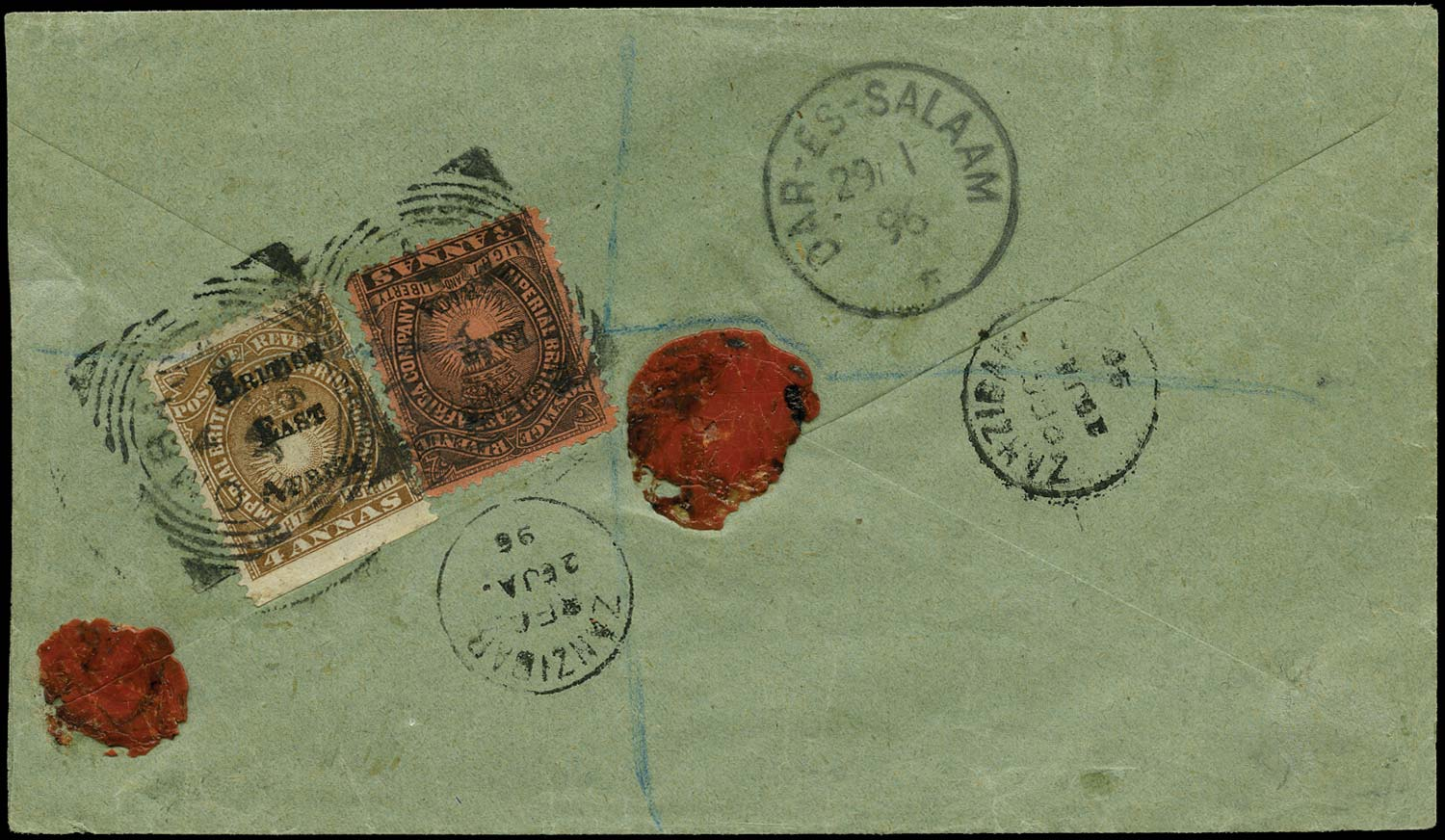 BRITISH EAST AFRICA 1896  SG37, 38 Cover registered Mombasa to Kilwa