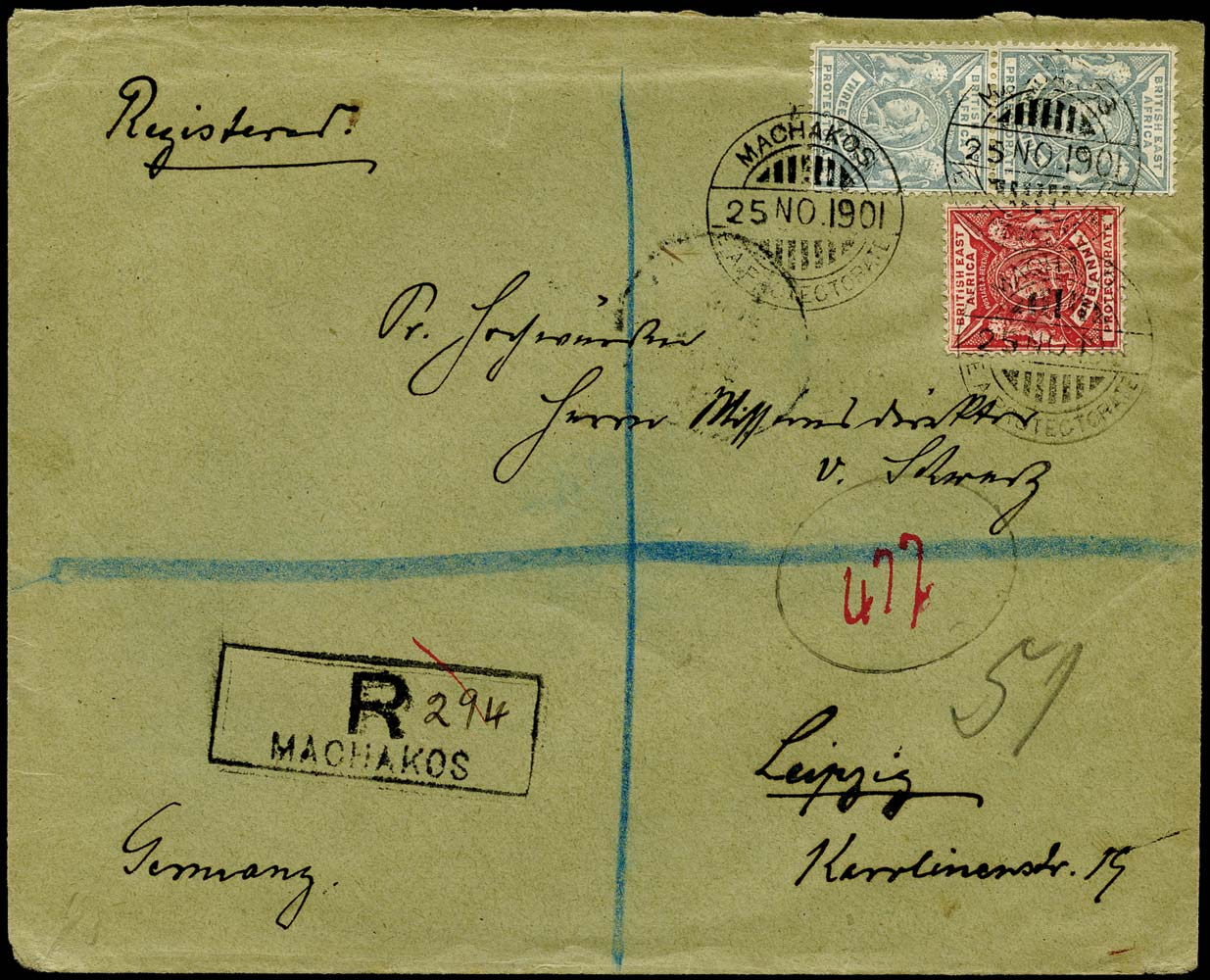 BRITISH EAST AFRICA 1901  SG66, 69 Cover Machakos to Leipzig missionary