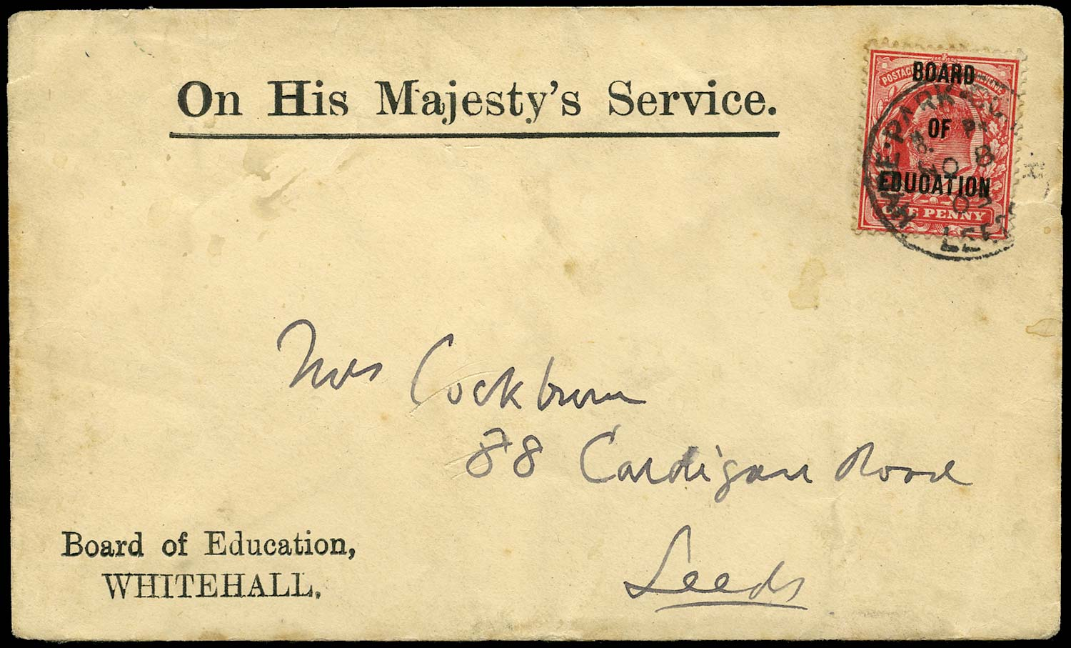 GB 1902  SGO84 Official - on cover to Leeds