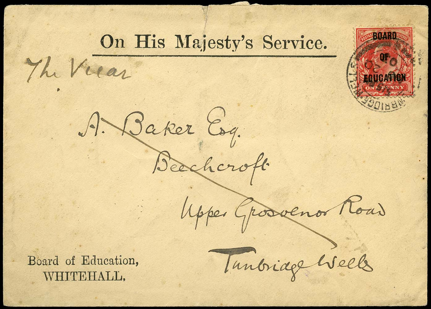 GB 1902  SGO84 Official - on cover to Tunbridge Wells
