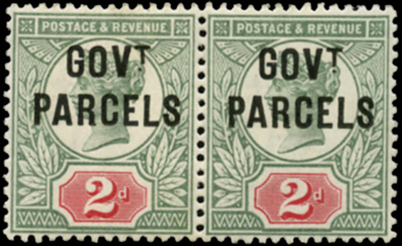 GB 1891  SGO70b Official (Govt. Parcels) unused pair, dot to left