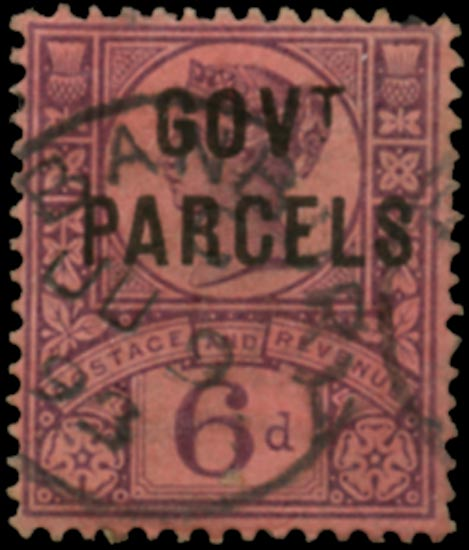 GB 1887  SGO66c Official (Govt. Parcels) used do to left of