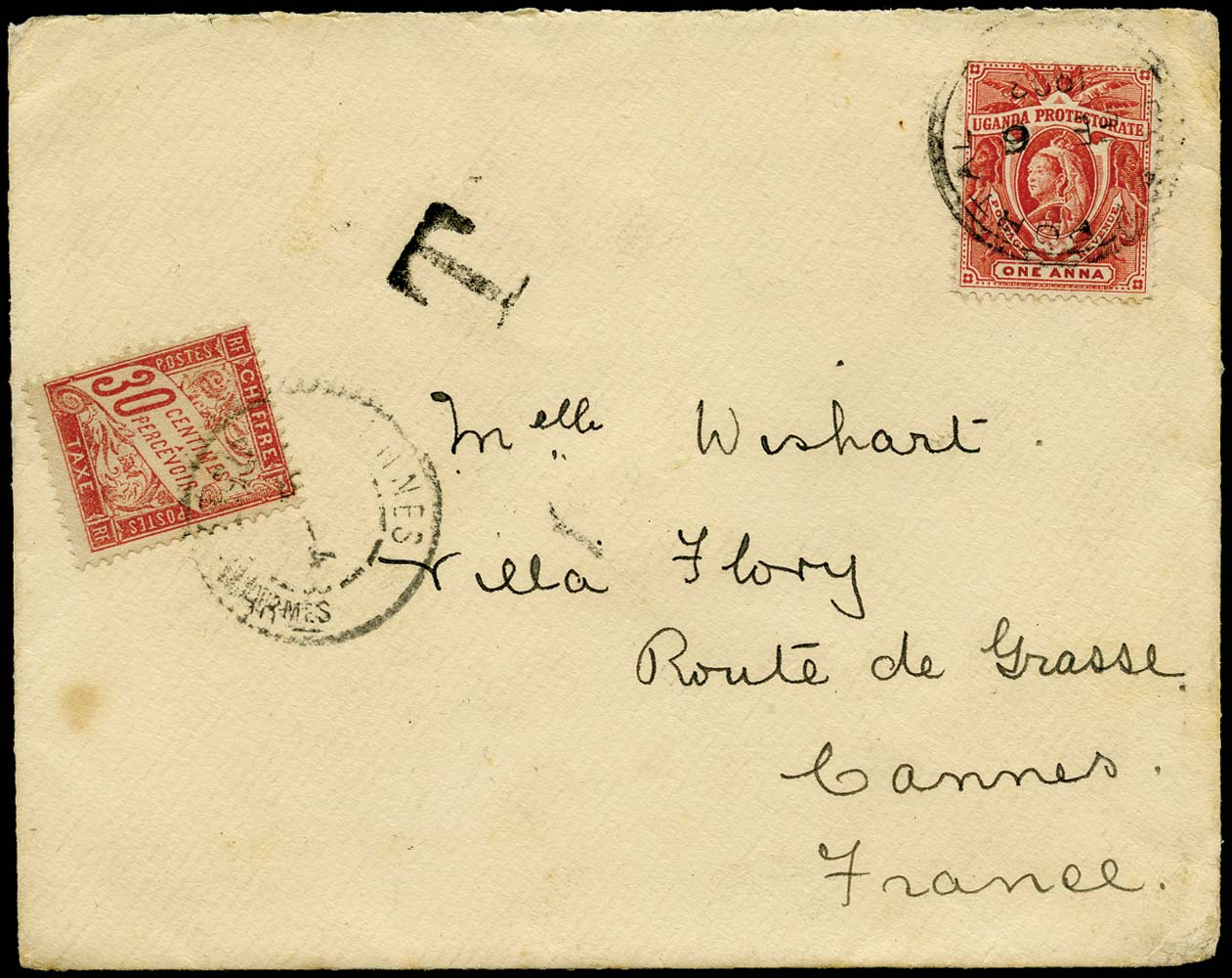 UGANDA 1902  SG84 Cover Fort Portal to Cannes postage due