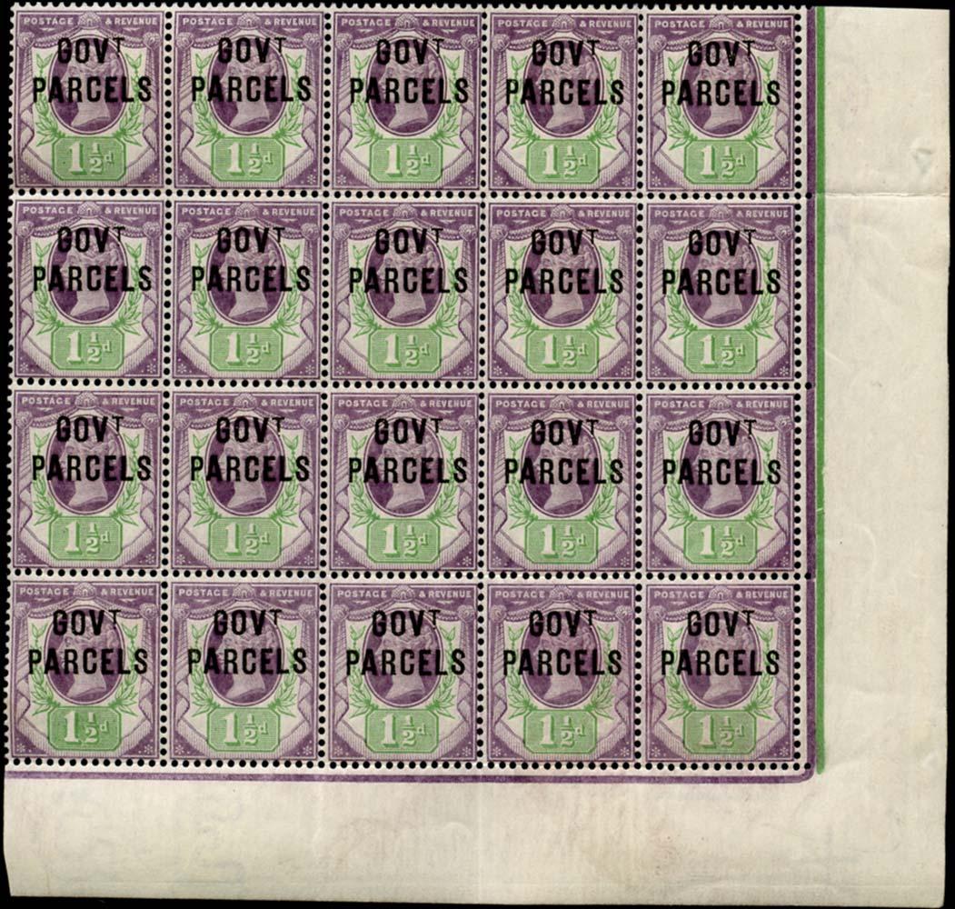 GB 1887  SGO65 Official (Govt. Parcels) U/M o.g. block of twenty