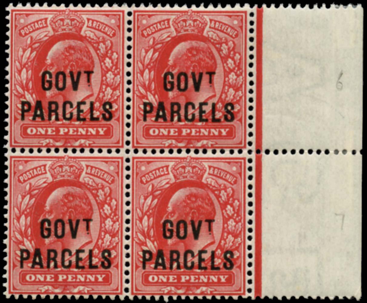 GB 1902  SGO74 Official (Govt. Parcels) U/M block of four