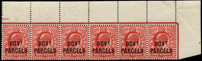 GB 1902  SGO74 Official (Govt. Parcels) corner strip of six