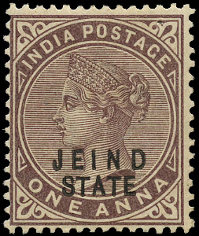 I.C.S. JIND 1886  SG18a Mint 1a brown-purple error JEIND for JHIND