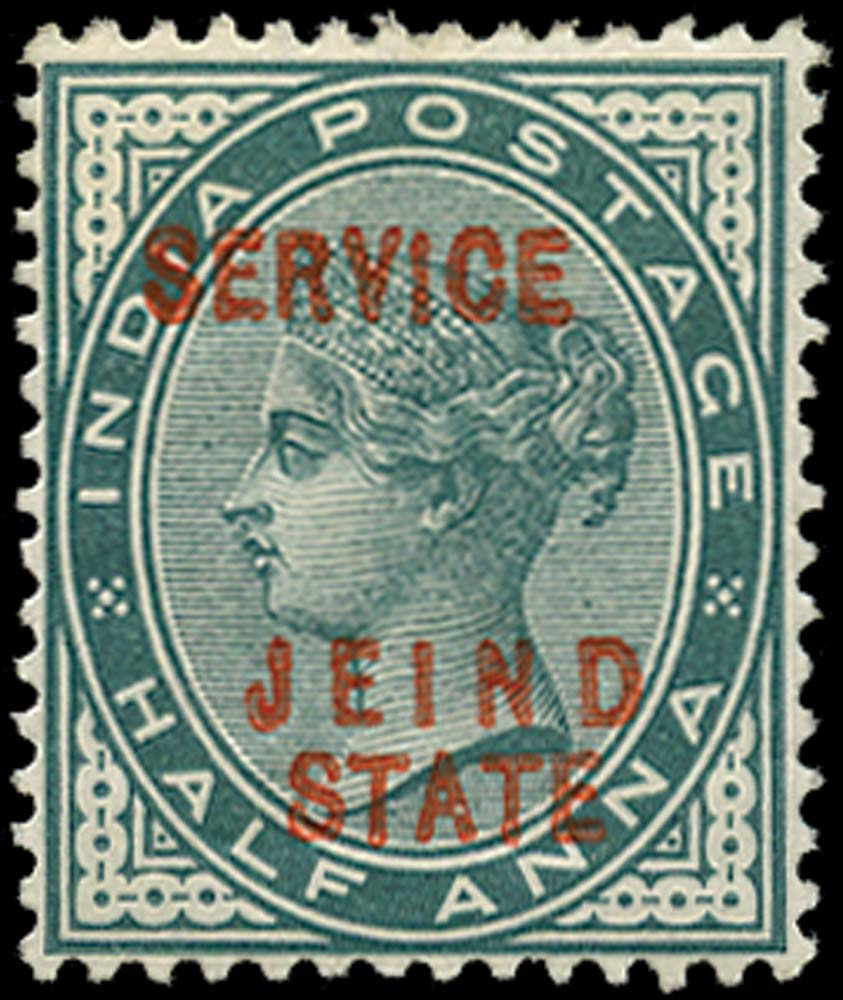 I.C.S. JIND 1886  SGO10b Official ½a blue-green error JEIND for JHIND
