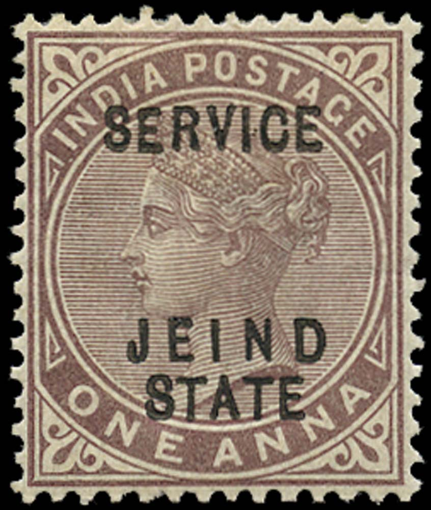 I.C.S. JIND 1886  SGO13b Official 1a brown-purple error JEIND for JHIND