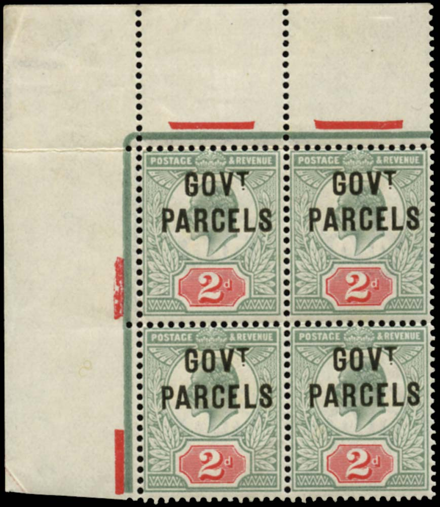 GB 1902  SGO75 Official (Govt. Parcels) U/M block of four