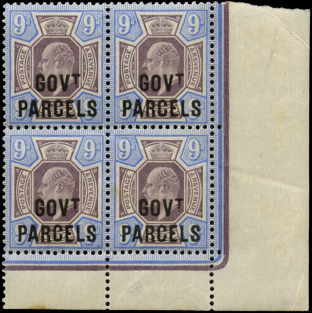 GB 1902  SGO77 Official (Govt. Parcels) block of four