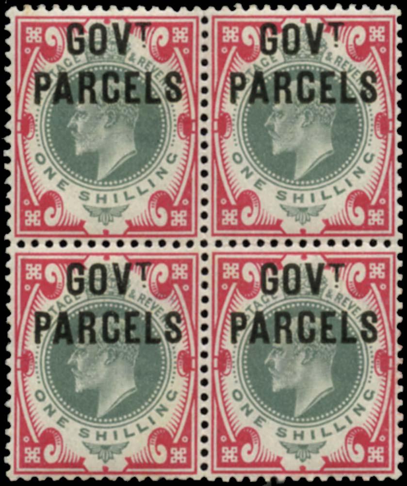 GB 1902  SGO78 Official (Govt. Parcels) block of four