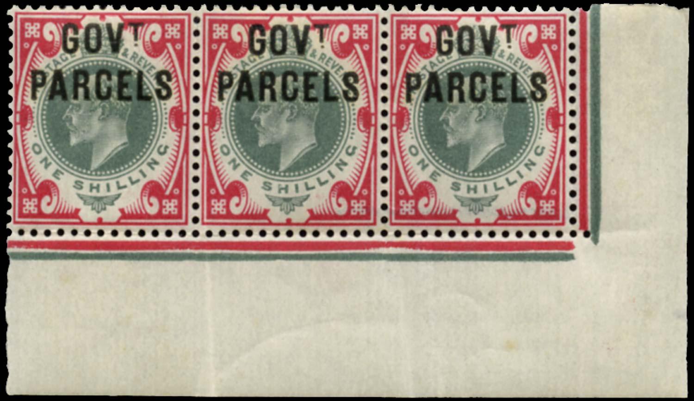 GB 1902  SGO78 Official (Govt. Parcels) strip of three
