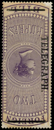 INDIA 1900  SGT53w Telegraph 1900 2r purple surcharge
