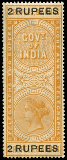 INDIA 1900  SGT54 Telegraph 2r on 2r8a orange surcharge
