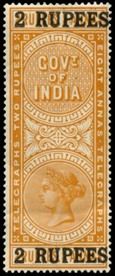 INDIA 1899  SGT52 Telegraph 2r on 2r8a orange