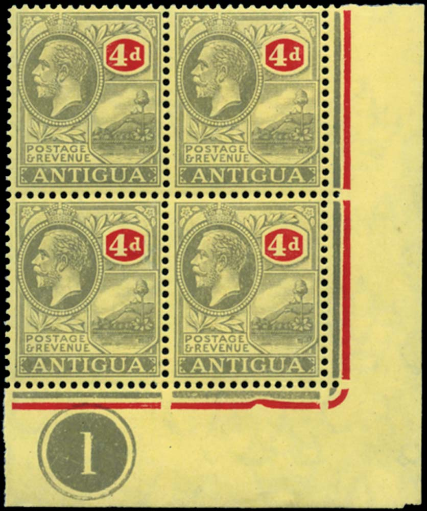 ANTIGUA 1921  SG56 Mint 4d grey-black and red on pale yellow paper