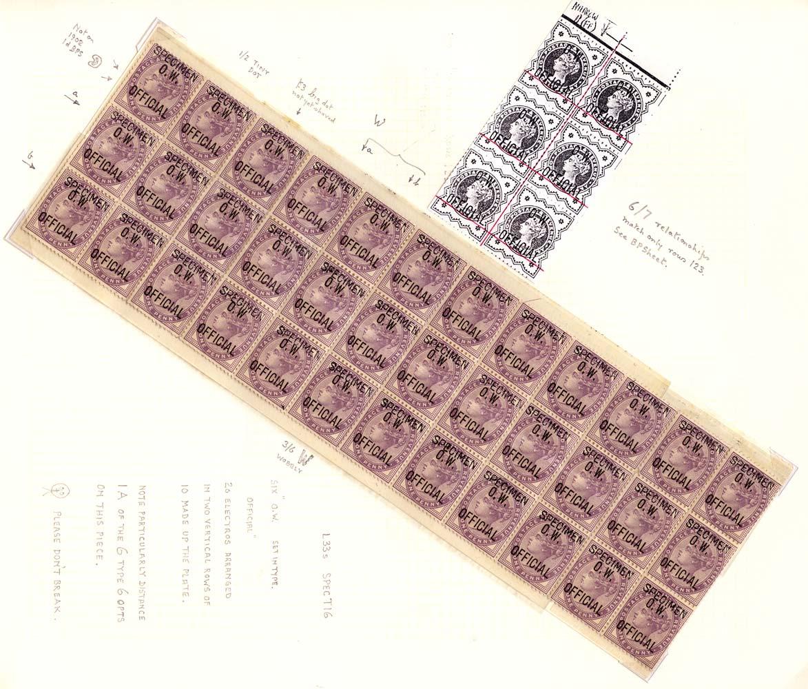 GB 1896  SGO33s Official - SPECIMEN type 16