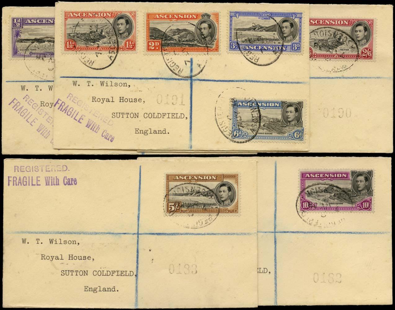 ASCENSION 1938  SG38/47 Cover original printings to 10s