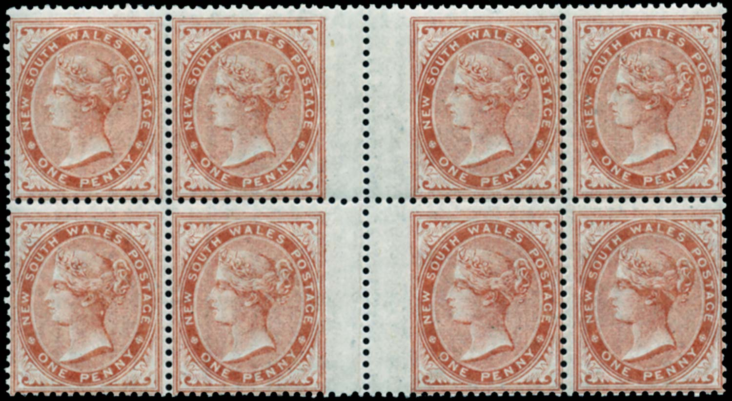 NEW SOUTH WALES 1862  SG187 Mint 1d dull red no watermark interpane block