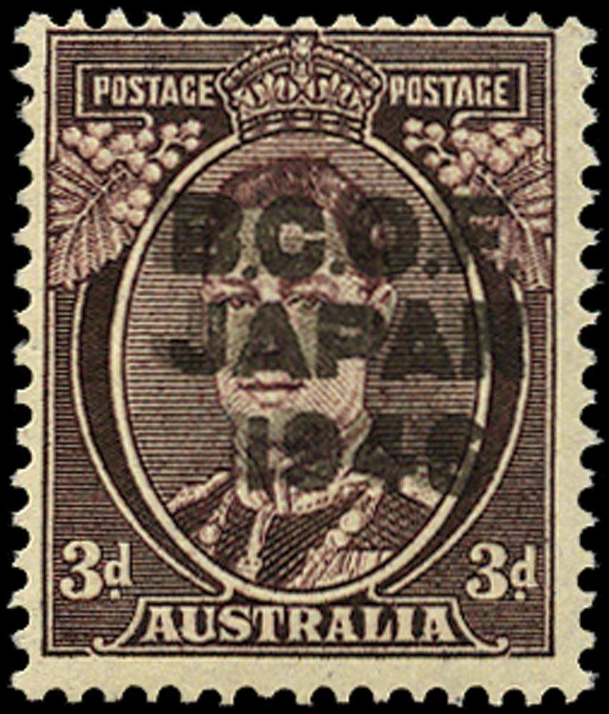 AUSTRALIA B.C.O.F. 1946  SGJ3a Mint 3d purple-brown overprint double unmounted