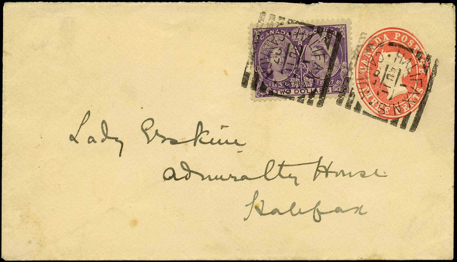CANADA 1897  SG137 Cover Jubilee $2 on 3c postal stationery envelope