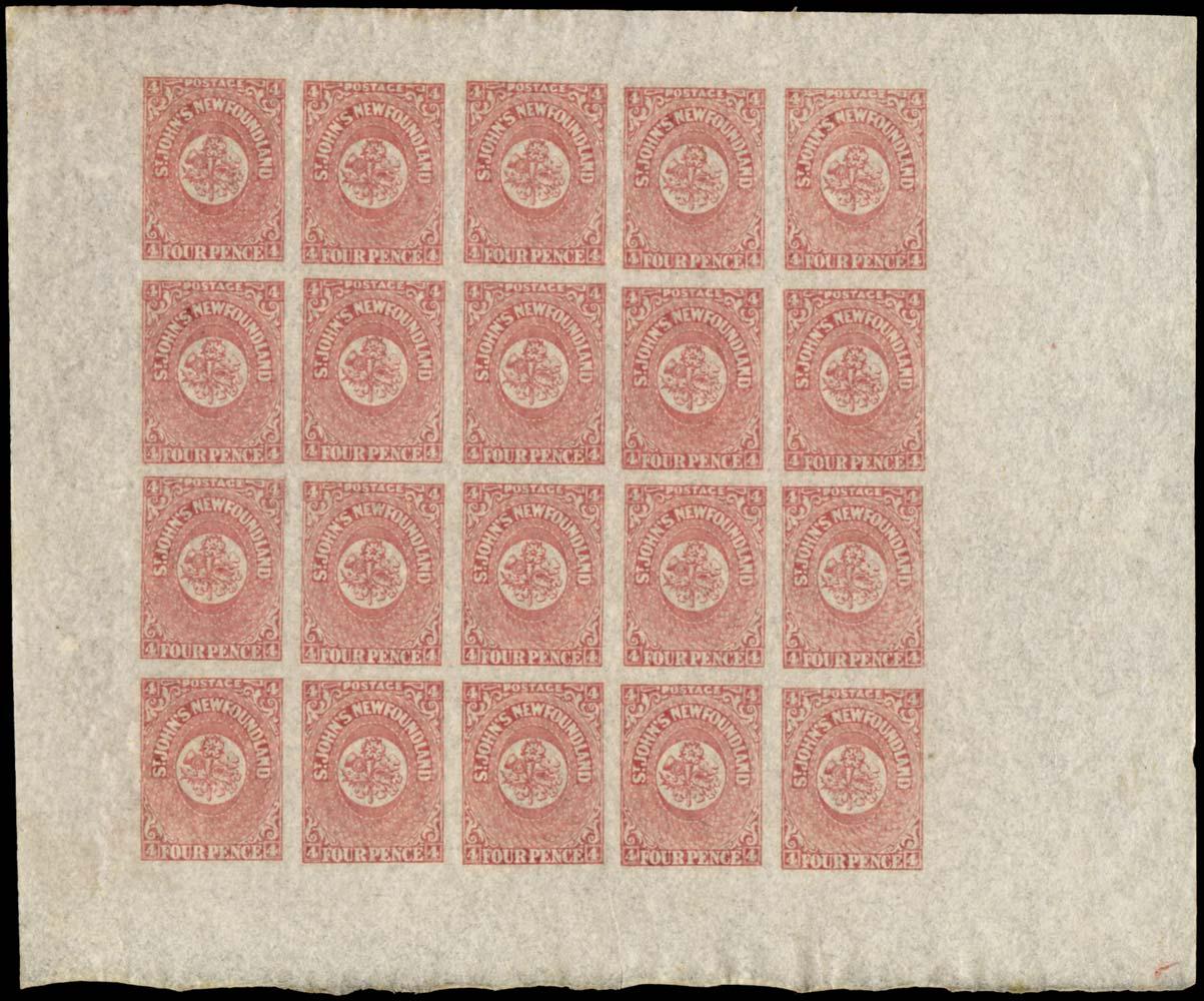 NEWFOUNDLAND 1862  SG18 Mint 4d rose-lake complete sheet of 20