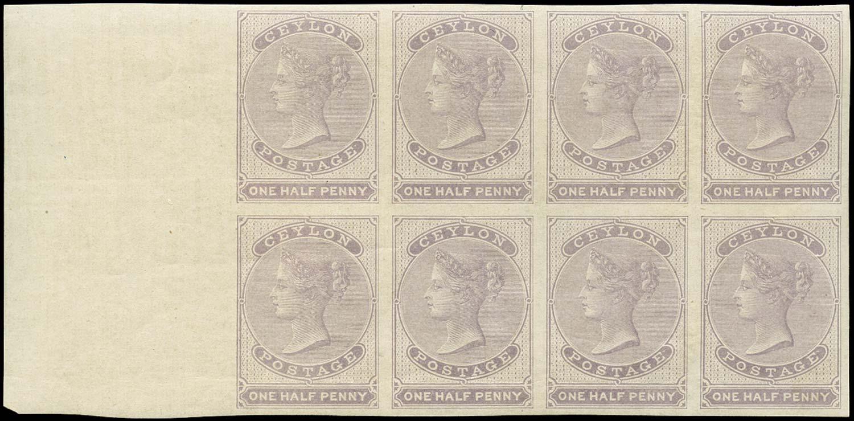 CEYLON 1857  SG17 Mint ½d dull mauve on white glazed paper