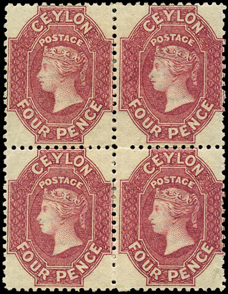 CEYLON 1867  SG65b Mint 4d rose-carmine watermark CC