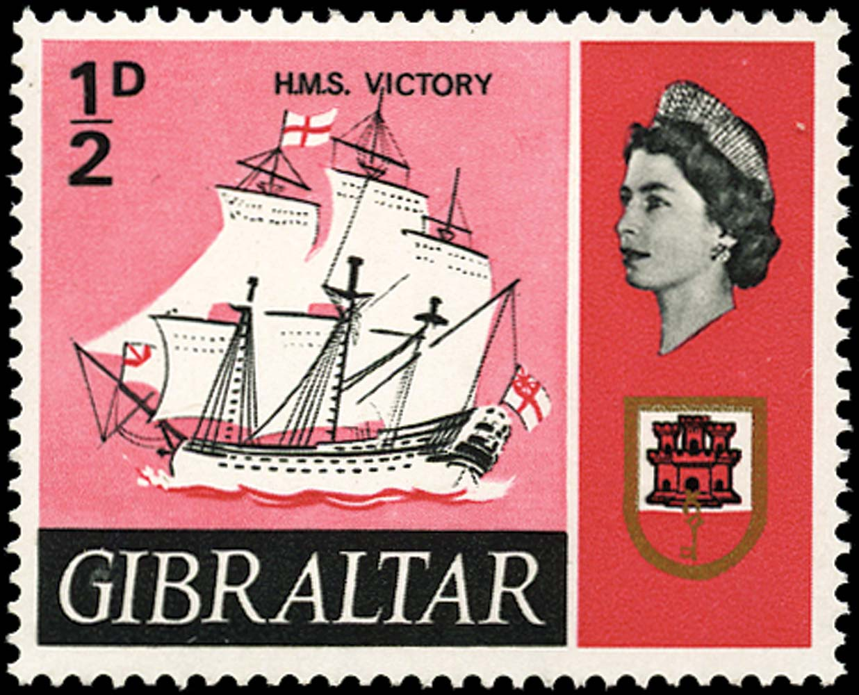 GIBRALTAR 1967  SG200a Mint ½d H.M.S. Victory error grey omitted unmounted