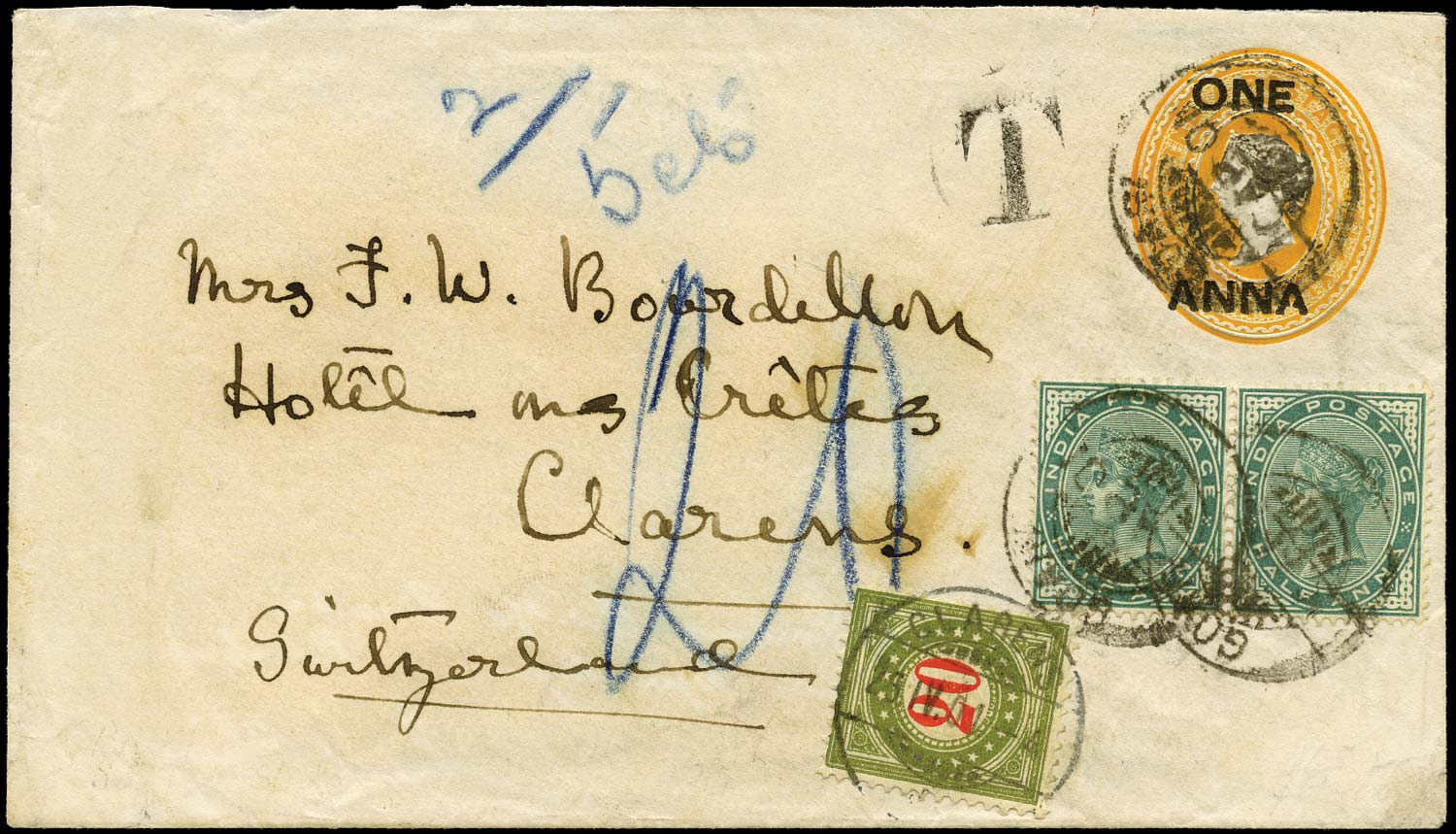 INDIA 1901  SG85 Cover 1a on 2a6p envelope postage due to Switzerland