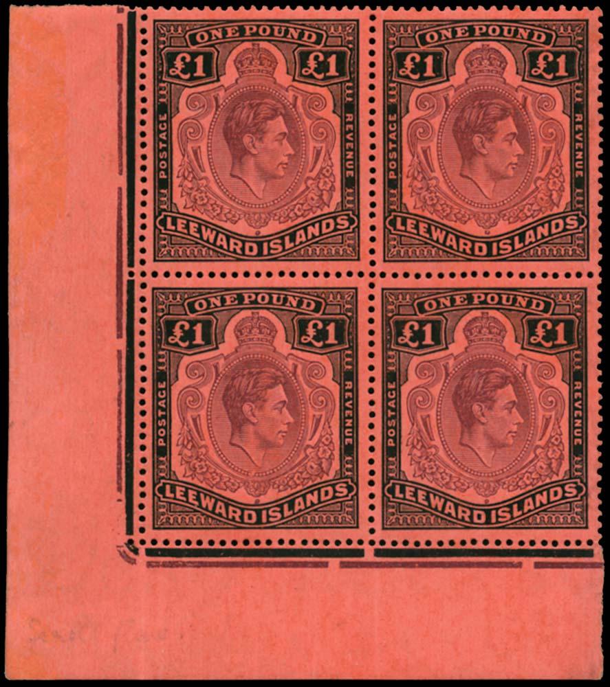 LEEWARD ISLANDS 1938  SG114b/ba Mint £1 variety Missing Pearl unmounted