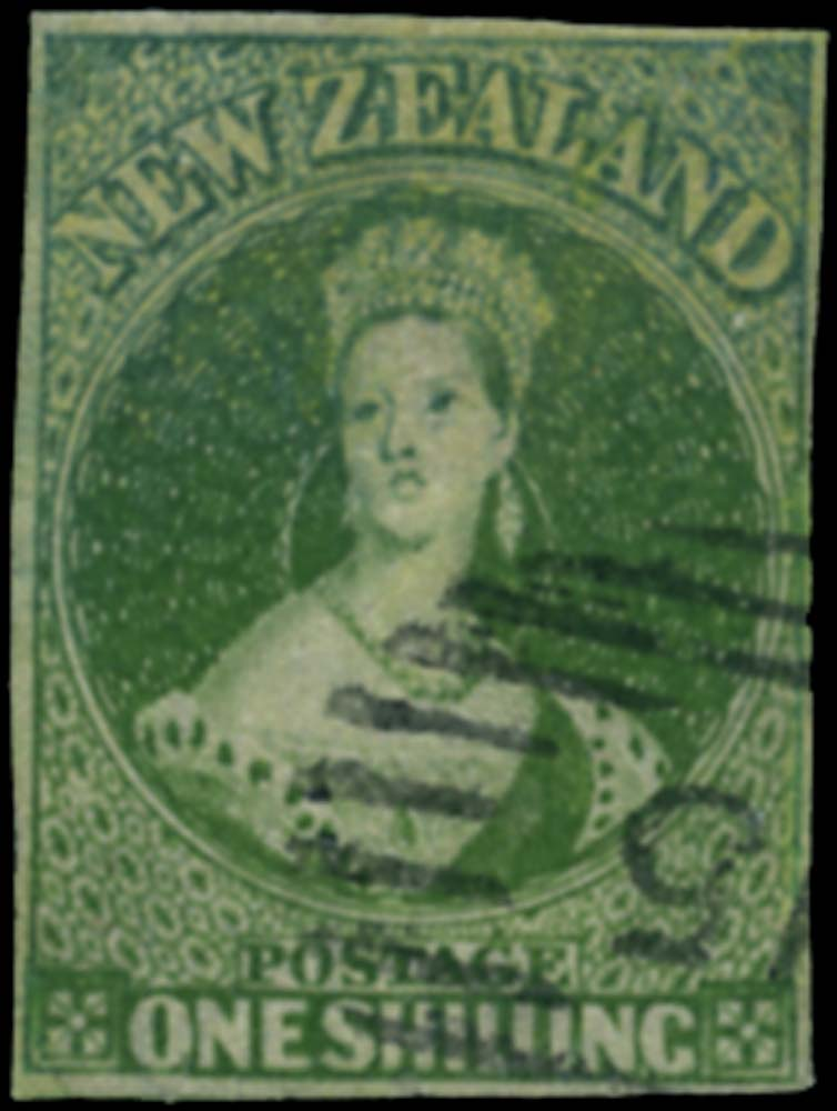 NEW ZEALAND 1862  SG86 Used 1s deep green no watermark Pelure paper