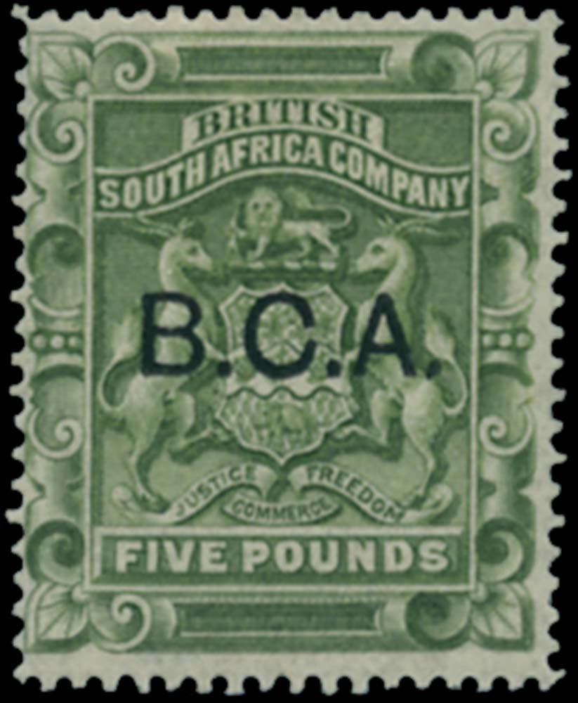 NYASALAND 1891  SG16 Mint £5 sage-green B.C.A. overprint on Rhodesia