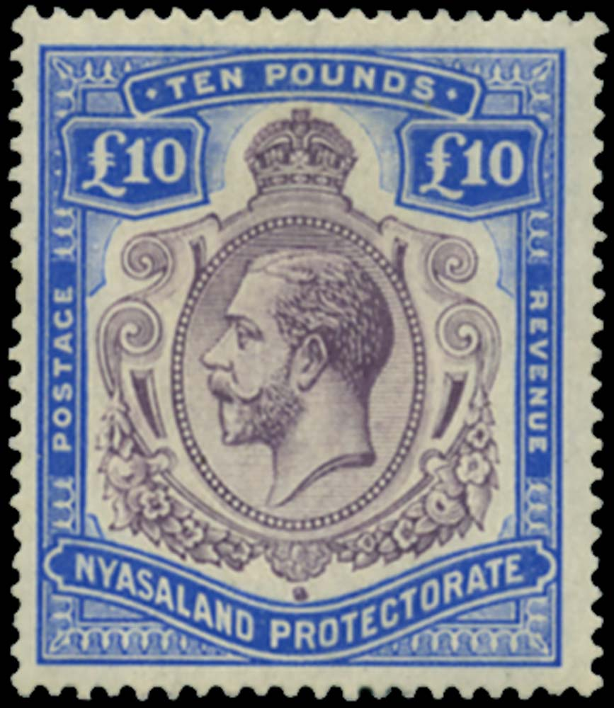 NYASALAND 1913  SG99c Mint £10 variety Nick in top right scroll