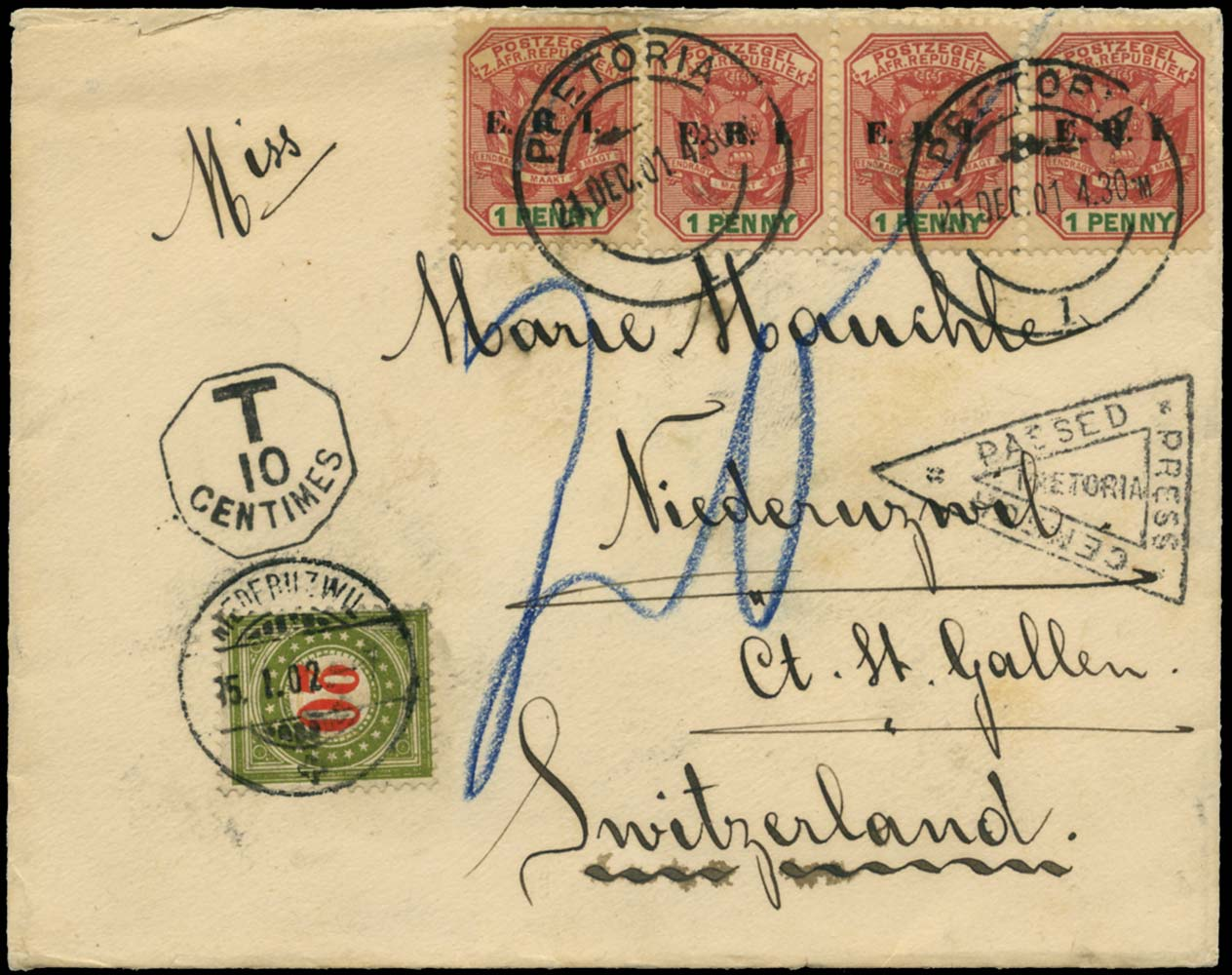 TRANSVAAL 1901  SG239 Cover censored Boer War postage due to Switzerland