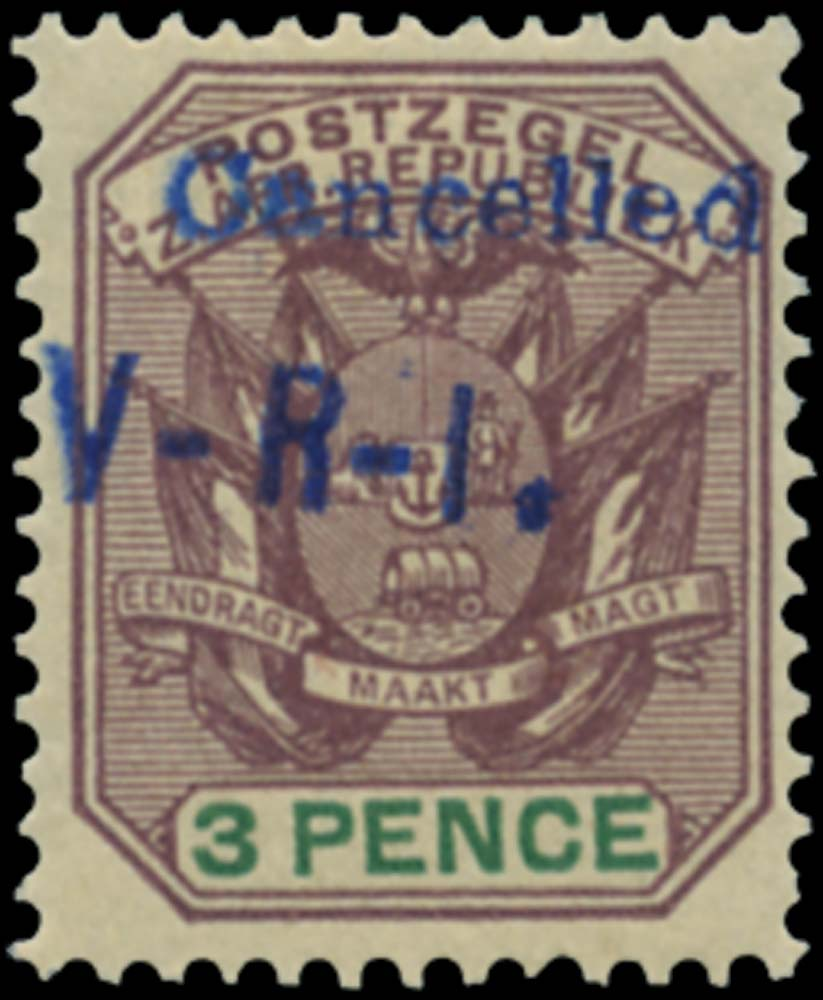 TRANSVAAL WOLMARAN 1900  SG5 Mint 3d purple and green type L3 handstamp