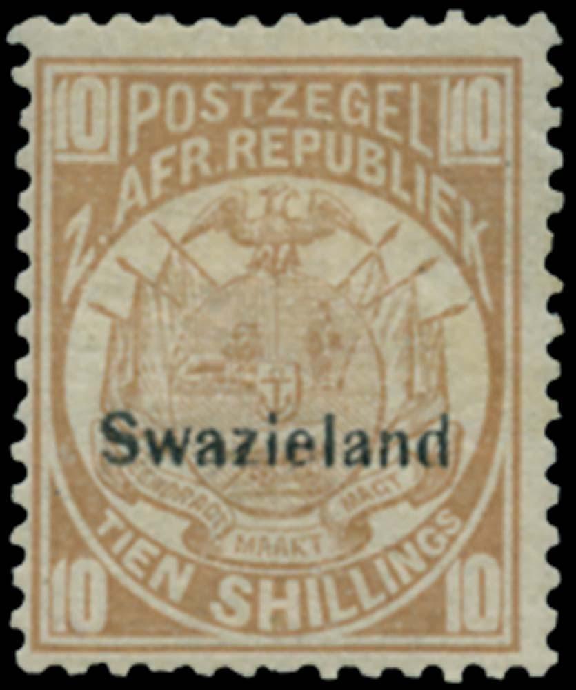SWAZILAND 1889  SG9 Mint 10s dull chestnut type 1 overprint on Transvaal