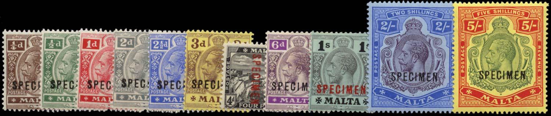 MALTA 1914  SG69s/88s Specimen set of 11 watermark MCA 2s, 5s unmounted