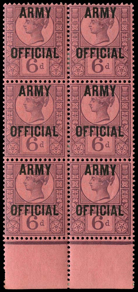 GB 1901  SGO45var Official (Army Official) block of six, splayed