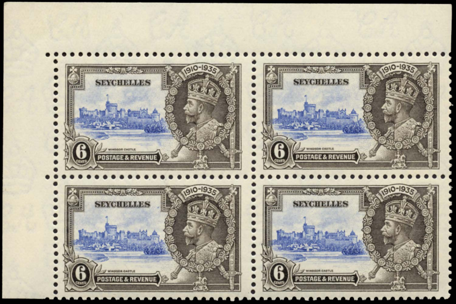 SEYCHELLES 1935  SG128b Mint Silver Jubilee 6c Short Extra Flagstaff unmounted