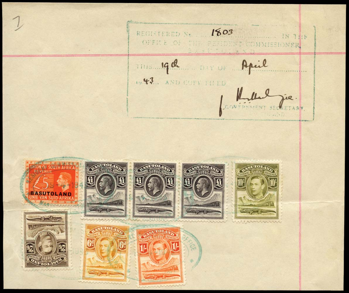 BASUTOLAND 1943  SG24, 25, 26, 28 Revenue KGVI £5 orange opt on South Africa