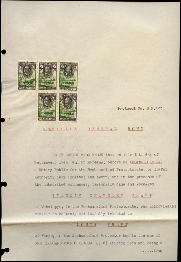 BECHUANALAND 1944 Revenue KGV £1 black x5 on complete document